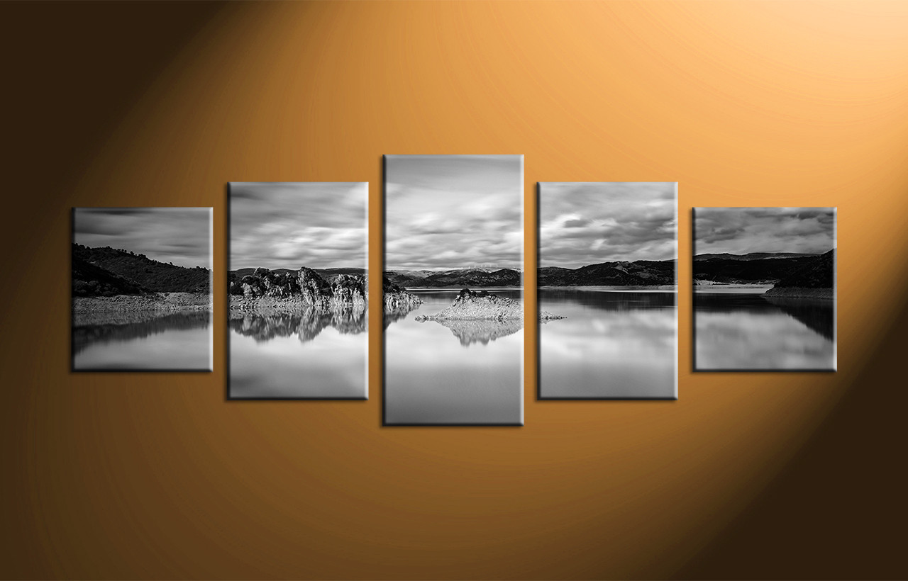 Canvas Wall Art Decor: 5 Piece Canvas Mountain Ocean Black And White Art