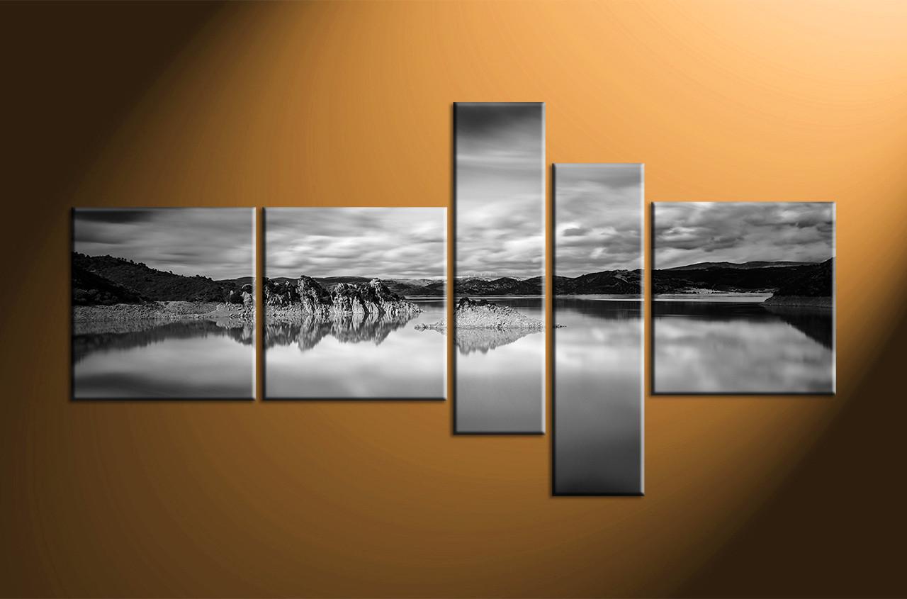5 piece ocean black and white mountain photo canvasocean canvas artbeach canvas art