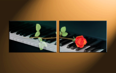 home decor, 2 piece canvas art prints, rose canvas art prints, music huge canvas art, piano canvas wall art