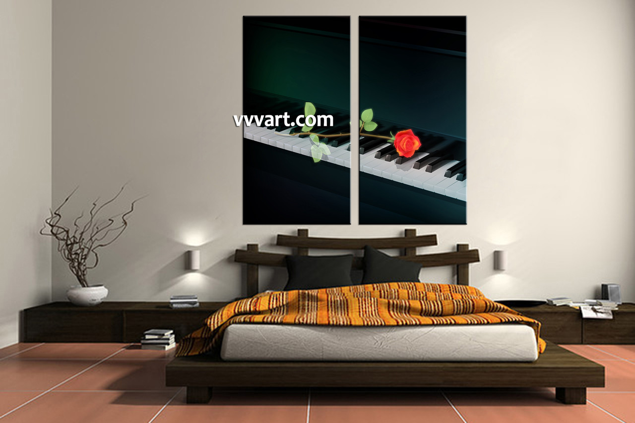 2 Piece Black Piano Music Canvas Wall Art
