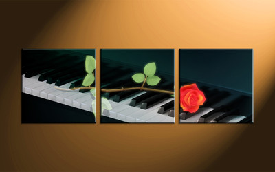 home decor, 3 piece canvas art prints, rose artwork, instrument large canvas, music wall decor