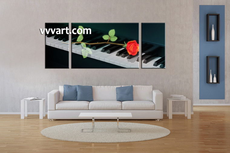 living room art, 3 piece canvas wall art, piano multi panel canvas, scenery pictures, instrument huge canvas art