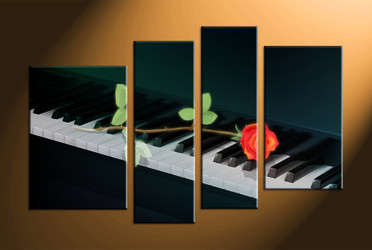 home decor, 4 piece canvas art prints, piano multi panel art, instrument large canvas, rose art