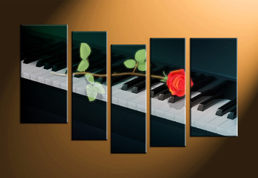 home decor, 5 piece canvas art prints, music canvas print, rose canvas photography, scenery art