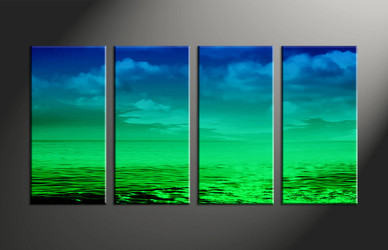 Home Decor, 4 piece canvas art prints, abstract multi panel art, abstract large canvas, ocean art