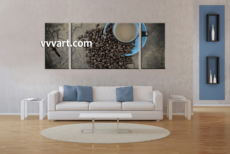 living room art, 3 piece canvas wall art, kitchen multi panel canvas, coffee pictures, kitchen multi panel art