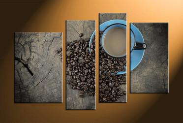 home decor, 4 piece canvas art prints, kitchen artwork, cup large canvas, coffee beans canvas art prints