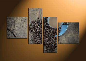 home decor, 4 piece canvas art prints, kitchen artwork, cup artwork, coffee beans canvas art prints