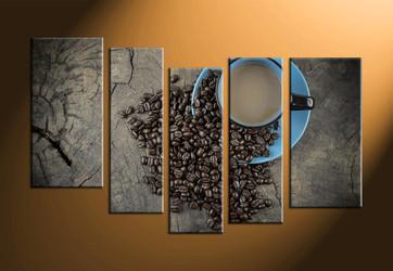 home decor, 5 piece canvas art prints, kitchen artwork, cup large canvas, coffee beans canvas art prints