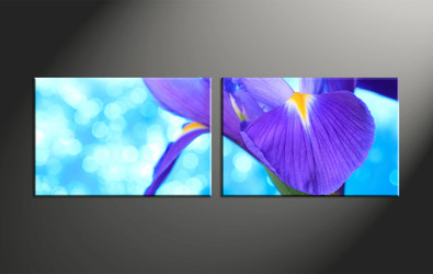 home decor, 2 piece canvas art prints, floral artwork, flower large canvas, lily multi panel canvas