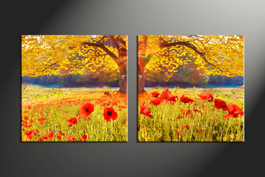 2 Piece Canvas Wall Art Floral Huge Pictures Purple Flowers Multi
