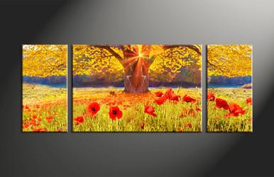 Home Decor, 3 piece canvas art prints, scenery canvas print, scenery wall art, floral canvas wall art