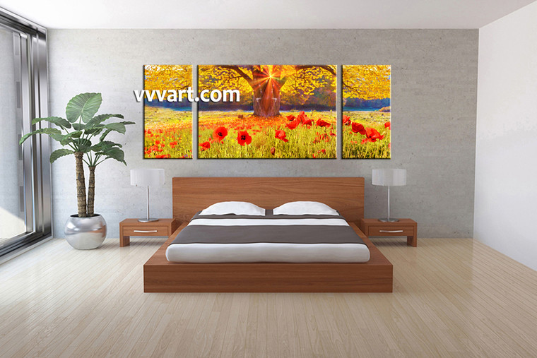 Bedroom Decor, 3 Piece Wall Art, scenery canvas photography, scenery multi panel art, floral art