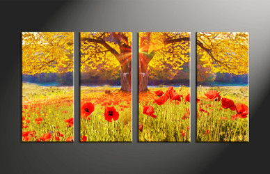 Home Decor, 4 piece canvas art prints, floral artwork, scenery large canvas, scenery wall decor