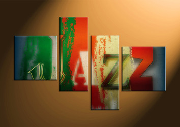 home decor, 4 piece canvas art prints, abstract multi panel art, music large canvas, jazz art