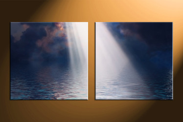 home decor, 2 piece artwork, oil paintings canvas art prints, ocean huge canvas art, sunrise canvas wall art