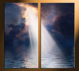 home decor, 2 piece artwork, sunrise canvas art prints, oil paintings huge canvas art, ocean canvas wall art