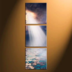 home decor, 3 piece multi panel art, ocean artwork, scenery large canvas, sunrise wall décor