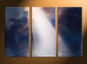 home decor, 3 piece multi panel art, sunrise artwork, ocean large canvas, scenery wall decor