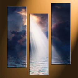 home decor, 3 piece multi panel art, scenery artwork, sunrise large canvas, ocean wall decor