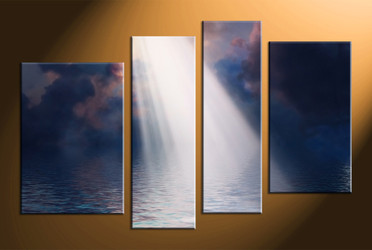 home decor, 4 piece photo canvas, ocean multi panel art, oil paintings large canvas, scenery art