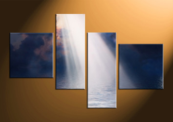 home decor, 4 piece photo canvas, scenery multi panel art, ocean large canvas, oil paintings art