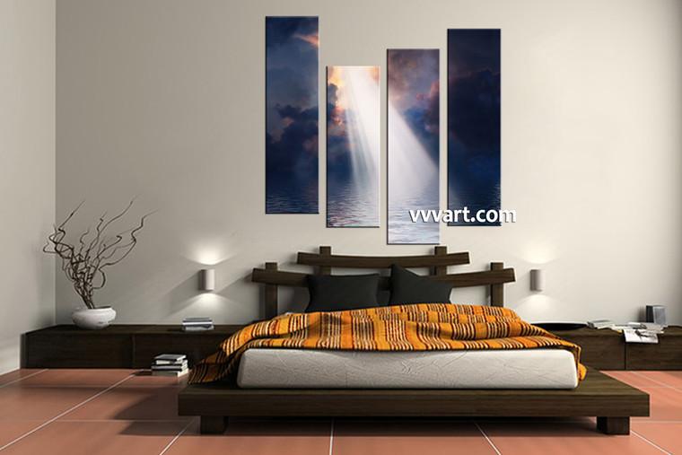bedroom decor, 4 Piece Wall Art, oil paintings huge pictures, scenery multi panel art, ocean canvas wall art