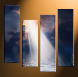 home decor, 4 piece photo canvas, oil paintings multi panel art, scenery large canvas, ocean art