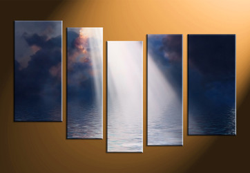 home decor, 5 piece canvas art prints, ocean canvas print, sunrise canvas photography, scenery art