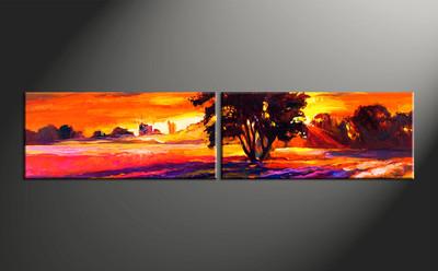 home decor, 2 piece canvas arts, landscape artwork, sunrise large canvas, oil wall decor