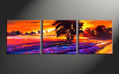 home decor, 3 piece huge pictures, landscape artwork, sunrise large canvas, oil multi panel canvas
