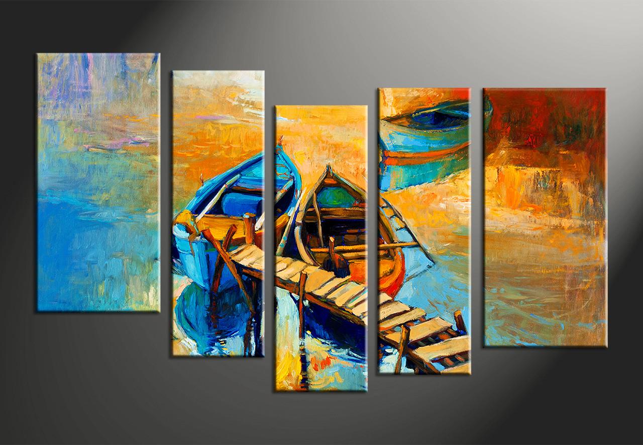 5 Piece Yellow Canvas Boats Ocean Oil Multi Panel Art