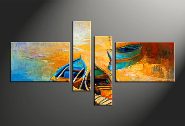 home decor, 4 piece pictures, oil paintings multi panel art, scenery large canvas, ocean art