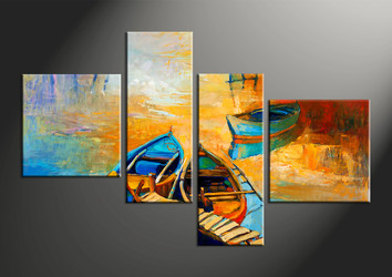 home decor, 4 piece pictures, scenery multi panel art, ocean large canvas, oil paintings art
