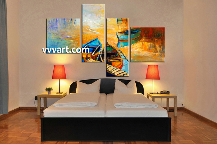 bedroom decor, 4 Piece Wall Art, scenery huge pictures, ocean multi panel art, oil paintings canvas wall art