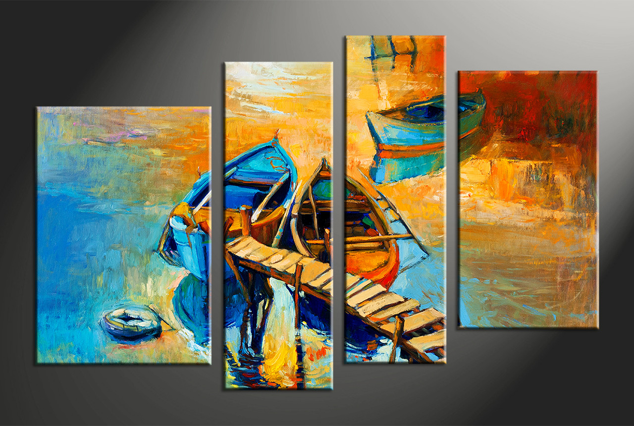 4 piece oil paintings boat ocean huge yellow canvas artocean canvas artbeach canvas art