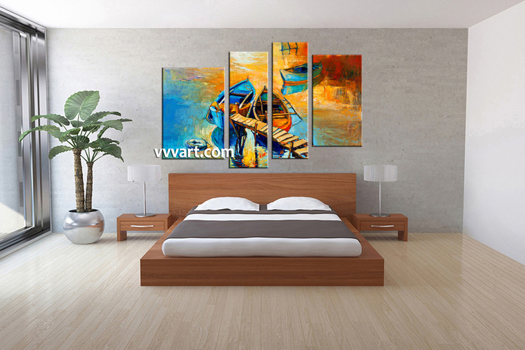 bedroom decor, 4 Piece Wall Art, ocean huge pictures, oil paintings multi panel art, scenery canvas wall art