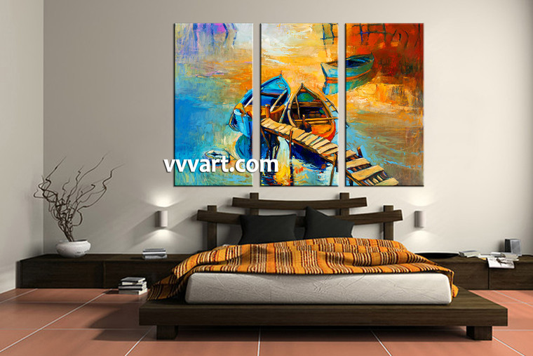 bedroom decor, 3 Piece Wall Art, ocean canvas art prints, scenery multi panel art, oil paintings canvas photography