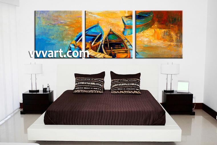 bedroom decor, 3 Piece Wall Art, oil paintings canvas art prints, ocean multi panel art, scenery canvas photography