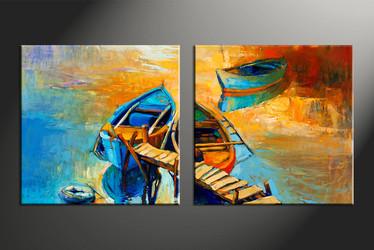 home decor, 2 piece artwork, gondola canvas photography, scenery huge canvas art, ocean canvas wall art