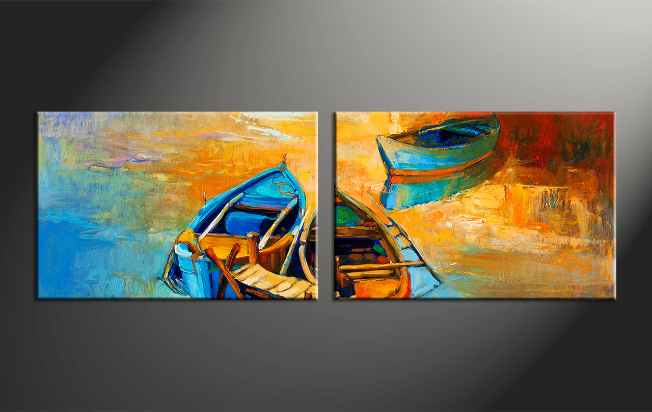 2 piece boat ocean oil paintings yellow photo canvasocean canvas artbeach canvas art