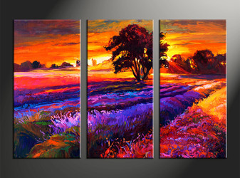 home decor, 3 piece huge pictures, landscape artwork, sunrise large canvas, oil group canvas