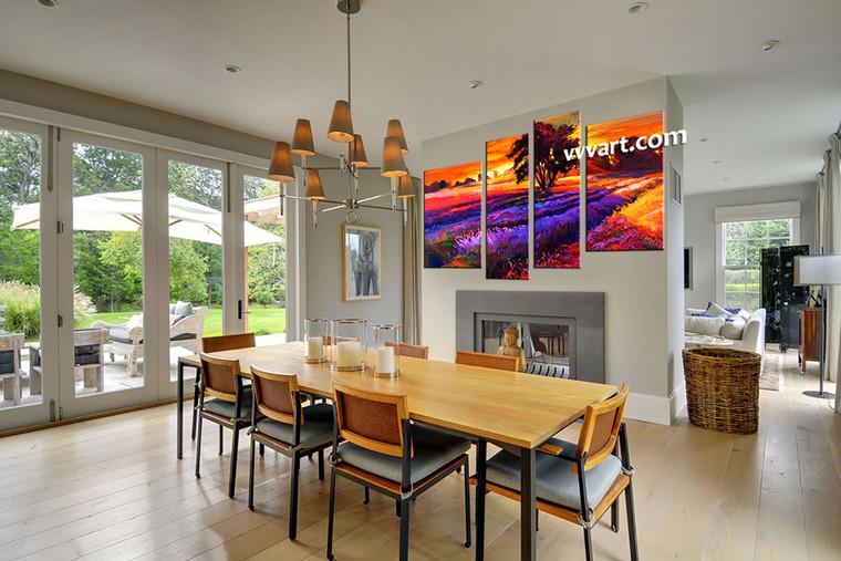 dining room art, 4 piece canvas arts, landscape large pictures, oil multi panel canvas, sunrise pictures