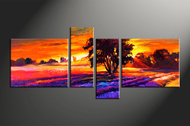 home decor, 4 piece huge pictures, landscape artwork, sunrise large canvas, oil group canvas