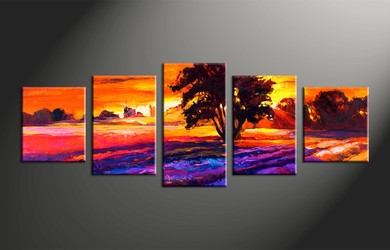 home decor, 5 piece huge pictures, landscape artwork, sunrise large canvas, oil group canvas