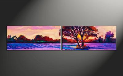 home decor, 2 piece canvas arts, scenery artwork, oil large canvas, landscape wall decor