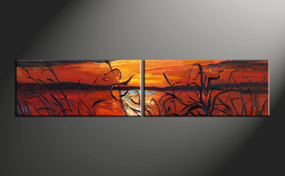 home decor, 2 piece artwork, sunset canvas photography, scenery huge canvas art, ocean canvas wall art