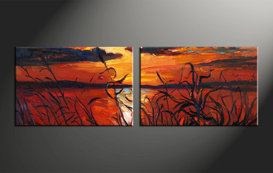 home decor, 2 piece artwork, oil paintings canvas photography, ocean huge canvas art, sunset canvas wall art