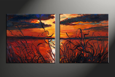 home decor, 2 piece artwork, oil paintings canvas photography, sunset huge canvas art, oil paintings canvas wall art