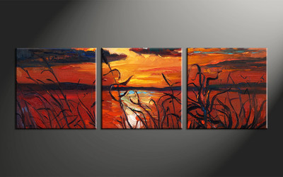 home decor, 3 piece photo canvas, ocean artwork, oil paintings large canvas, sunset wall decor